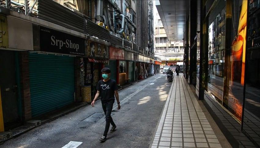 Empty street i seen to combat covid19 in bangkok