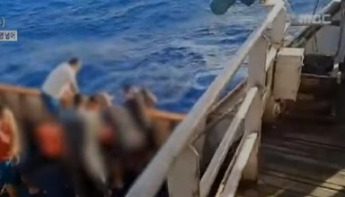 A video showing the throw out of the body of Indonesian ship crew from chinese ship