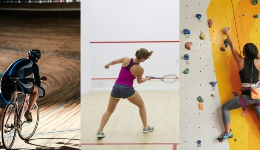 Indoor sports includes cycling, tennis and climbing
