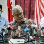 Bersatu sec-gen Datuk Seri Hamzah Zainudin speaks during a press conference