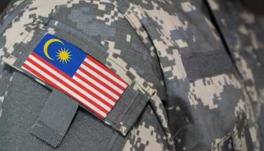 Malaysia army uniform patch flag on soldiers arm