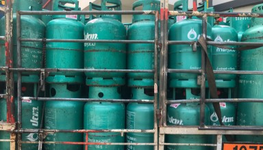 Gas cylinders tank on transport and storage truck in Thailand
