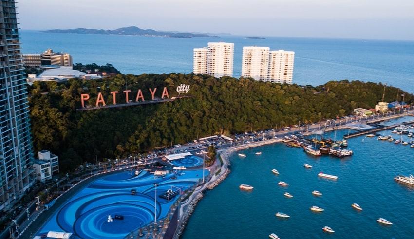 Aerial view of Pattaya beach in Thailand