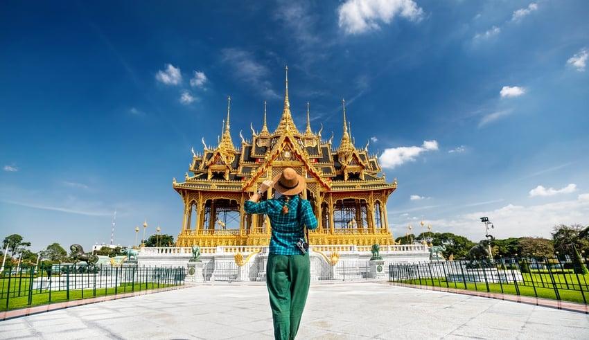 Tourist in Thai Royal Dusit Palace, Bangkok, Thailand