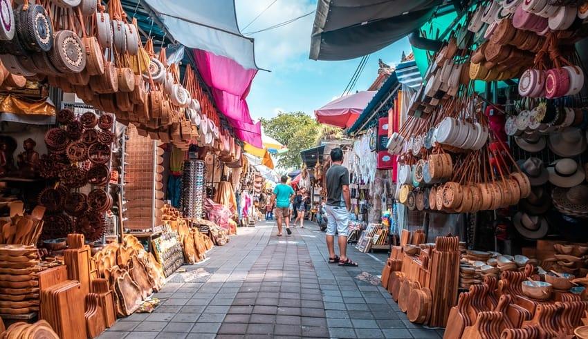 Tourists visiting Ubud Market or known as Ubud Art Market