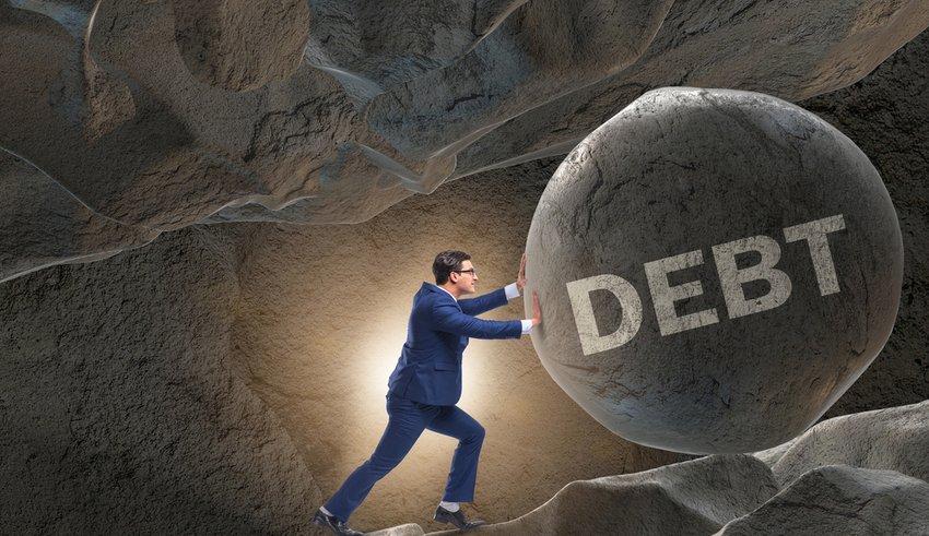 Human in high interest debt business concept