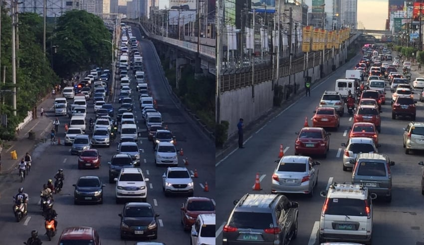 Traffic situation on Monday morning, June 1 along EDSA Southbound a