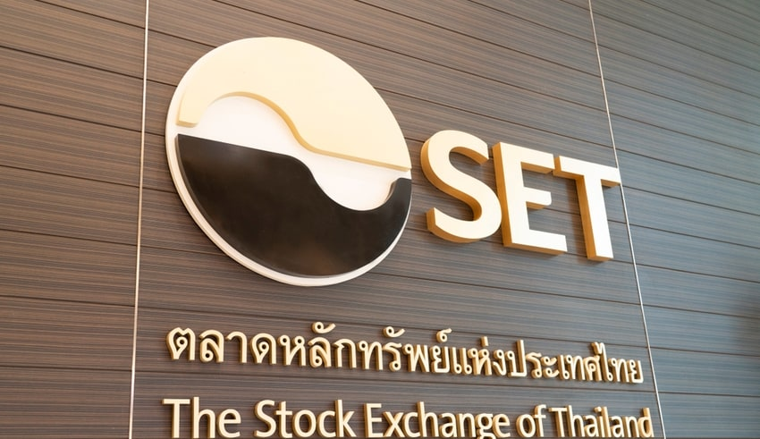 The Logo of The Stock Exchange of Thailand on the Wall