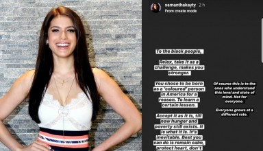 Samantha Katie James made a series of inflammatory remarks on the Black Lives Matter