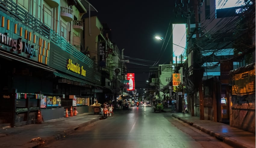 Shops were closed due to night curfew in bangkok