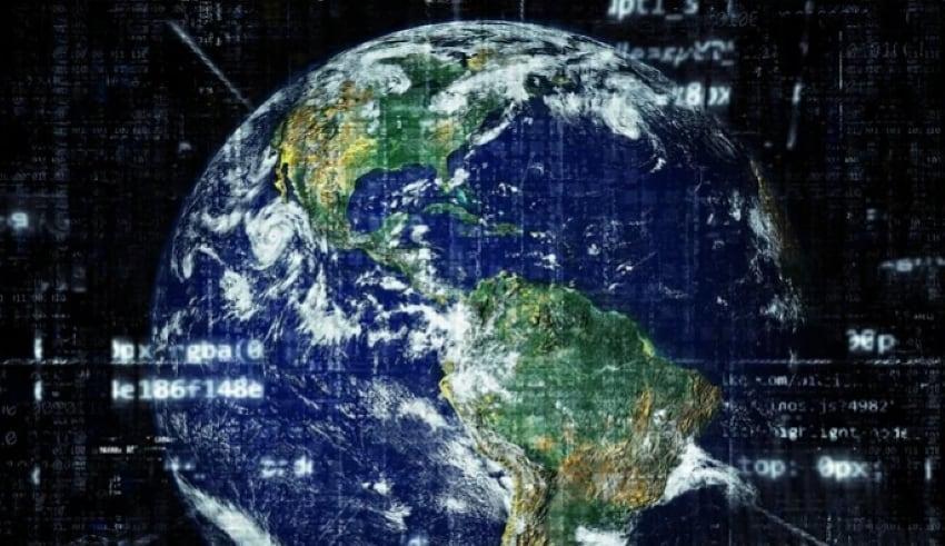 Globe with digital code
