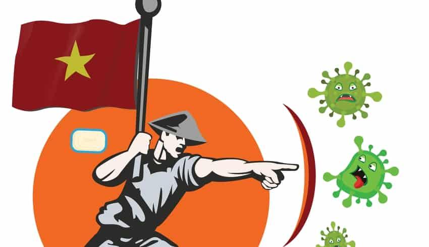 Illustration of an Vietnam warrior battle vs COVID-19